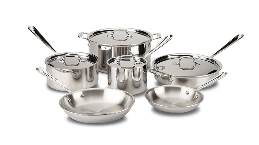 <p>All-Clad Stainless Steel Tri-Ply Bonded Dishwasher Safe Cookware Set</p>