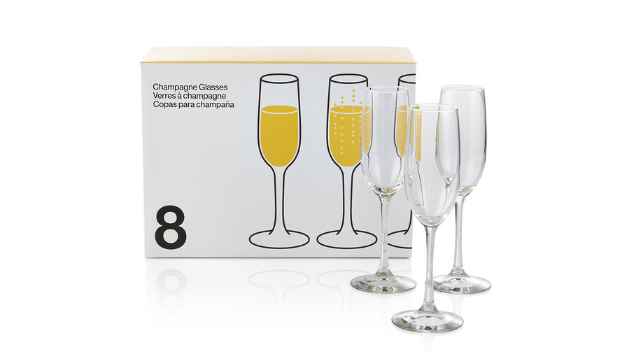 <p>Crate & Barrel Boxed Champagne Flutes</p>