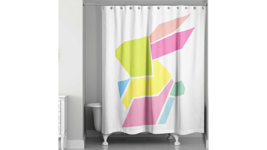 Geometric Bunny Shower Curtain