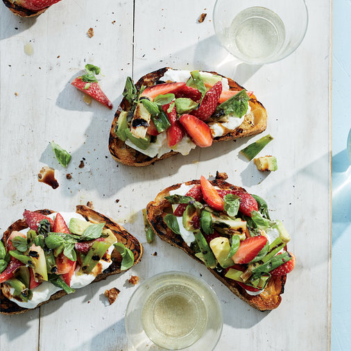 Day 2: Grilled Strawberry-Avocado Toasts with Burrata