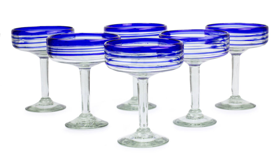 Novica Handblown Glass Striped Margarita Drinkware