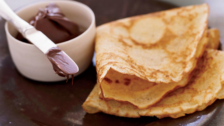 Brown-Butter Crepes with Nutella and Jam