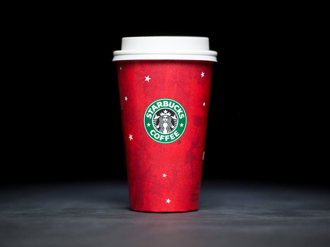 line pattern on red holiday cup