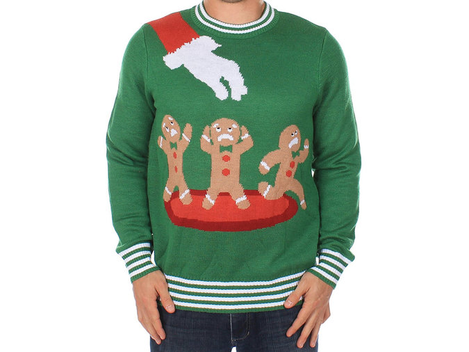 green sweater with gingerbread pattern