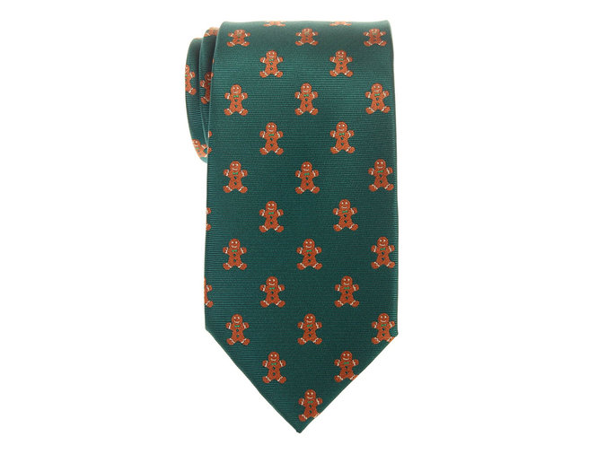 green tie with gingerbread men