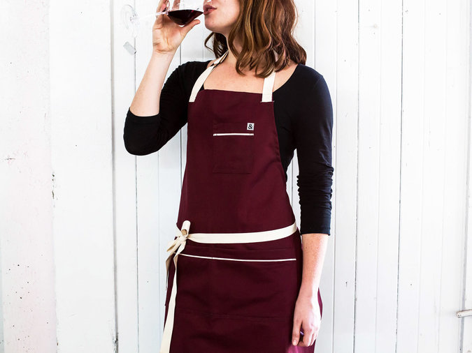 bordeaux apron maroon colored