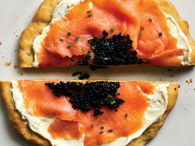 Pizza with Smoked Salmon, Creme Fraiche, and Caviar
