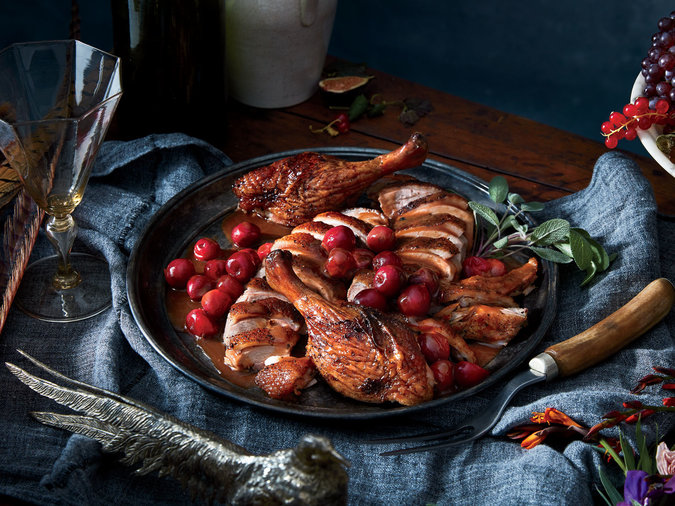 Juniper-Rubbed Roast Duck with Cherry Jus