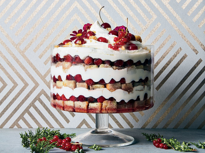 Sour Cherry-Cheesecake Trifle with Black Pepper and Saba