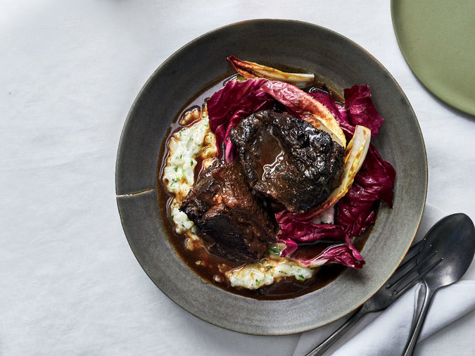 Wine-Braised Beef with Green-Garlic Soubise and Young Chicories
