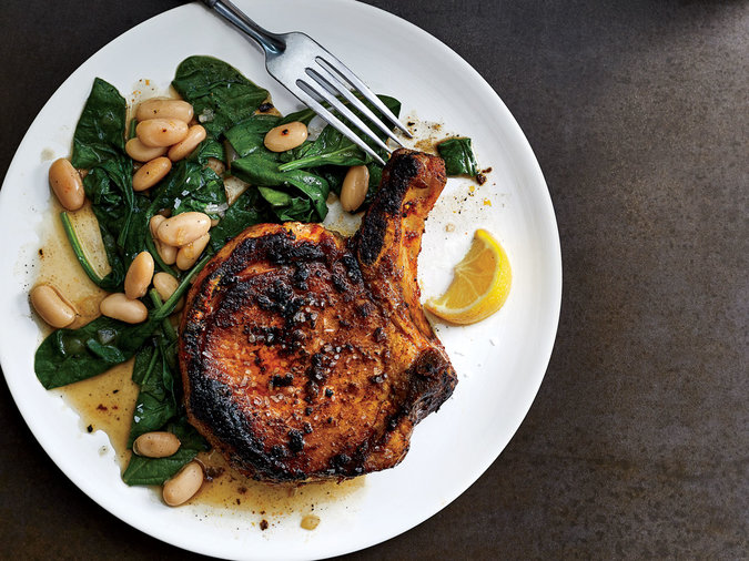 Blackened Skillet Pork Chops with Beans and Spinach