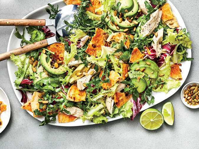Peppery Greens Salad with Avocado, Chicken and Tortilla Croutons