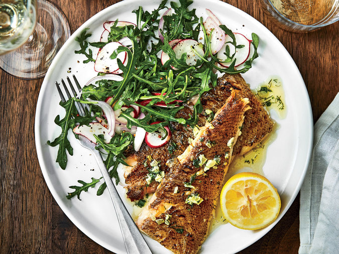 Grilled Whole Flatfish with Lemon Herb Butter