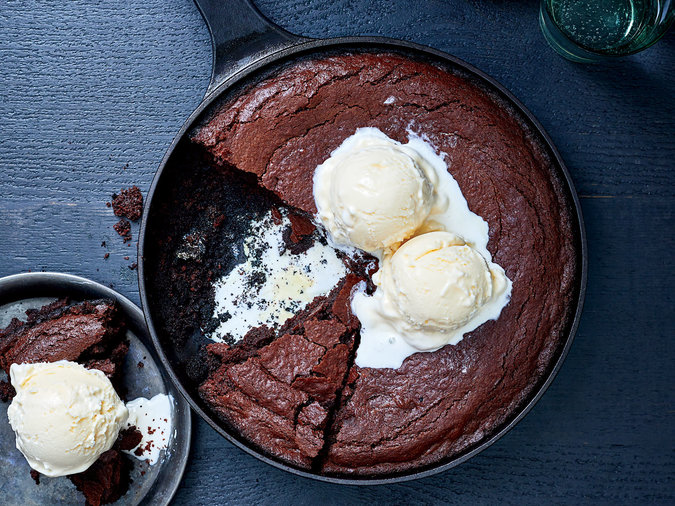 Skillet Brownies on the Grill