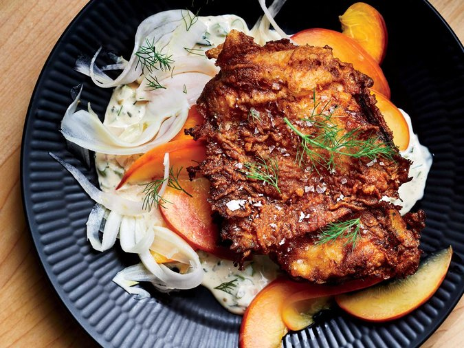 Buttermilk Fried Chicken with Pickled Peach Fennel Salad