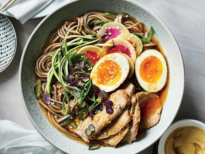 Soba Bukkake with Chashu Pork and Sesame Vinaigrette