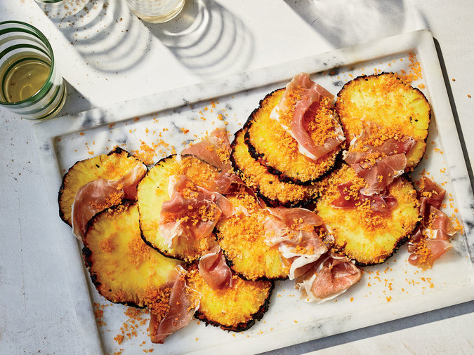 Grilled Pineapples with Barbecue-Spiced Bread-crumbs and Country Ham