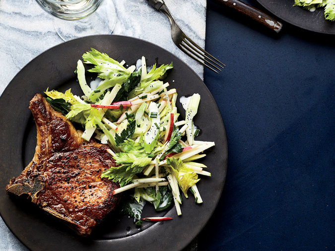 Pork Chops with Three-Apple Slaw