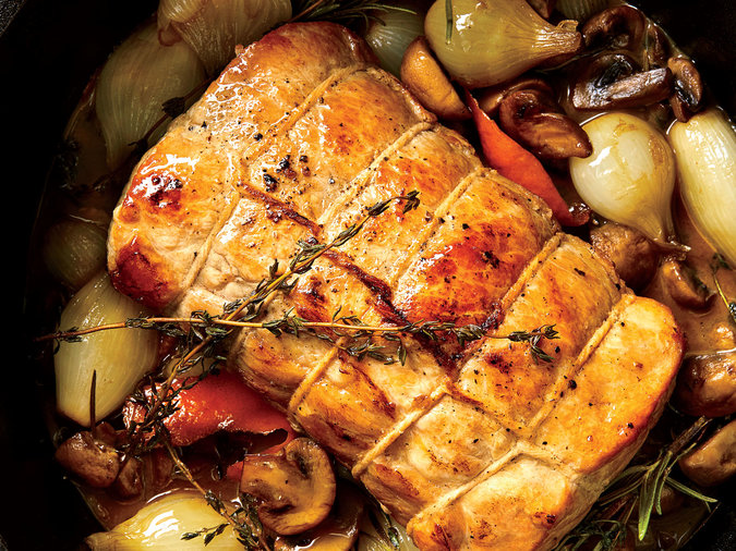 Pork Loin Braised with Mushrooms and Wine Recipe