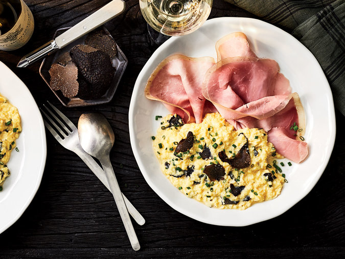 Soft Scrambled Eggs with Ham and Truffles