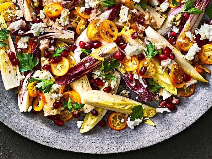 Endive Salad with Kumquats and Pomegranate Arils