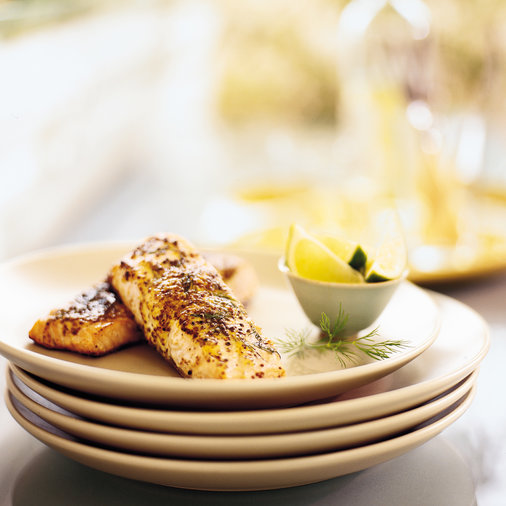 Grilled Salmon with Dilled Mustard Glaze