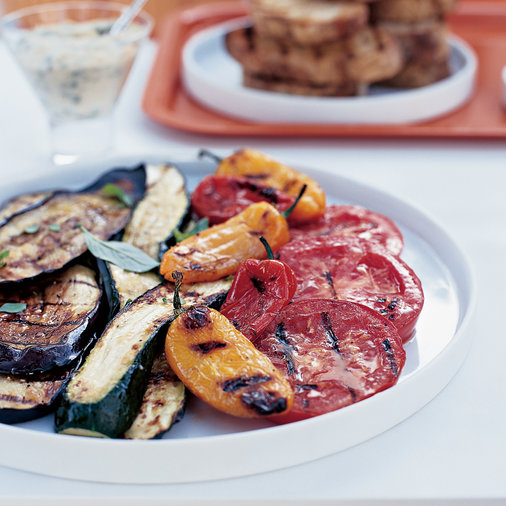 Grilled Antipasto with Garlicky Bean Dip
