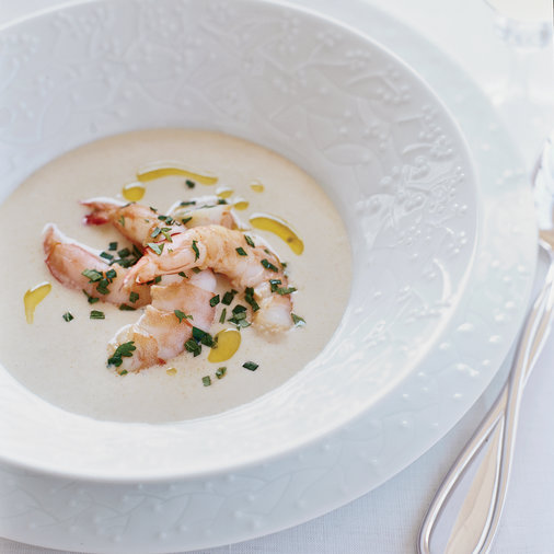 White Gazpacho with Pickled Shrimp