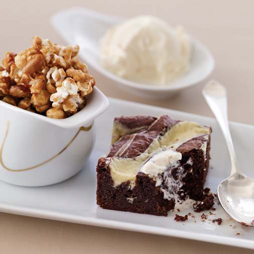Mascarpone-Swirled Brownies with Nutty Caramel Corn