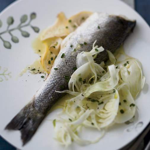 Jan. 12: Ginger-and-Lemon-Steamed Striped Bass with Fennel Salad