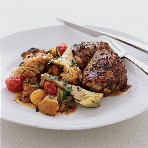 <p>Tangy Roasted Chicken Thighs with Artichoke Panzanella</p>