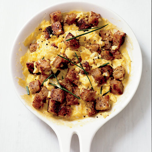 <p>Scrambled Eggs with Herbed Croutons</p>