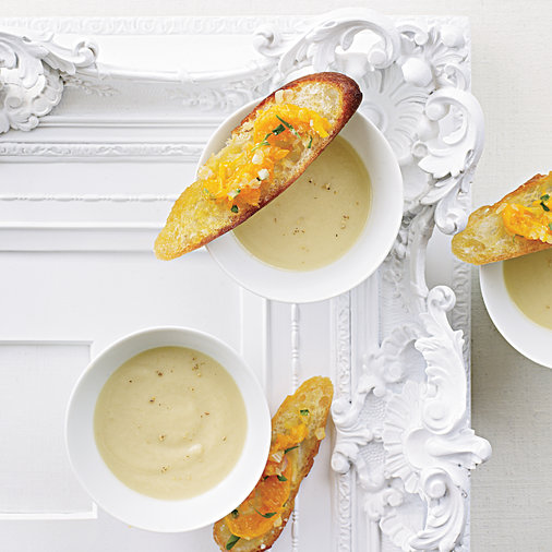 Celery Root Soup with Clementine-Relish Toasts