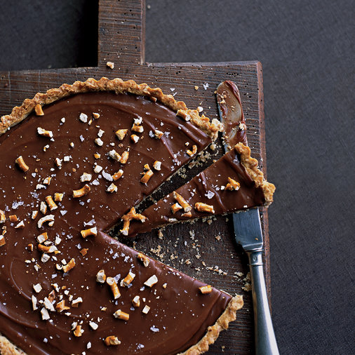 Milk-Chocolate Tart with Pretzel Crust
