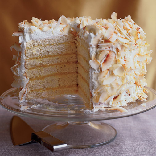 <p>Six-Layer Coconut Cake with Passion Fruit Filling</p>
