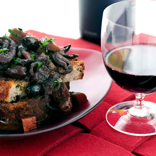 Red Wine-Braised Baby Octopus with Black Olives