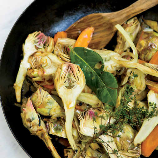 <p>Braised Baby Artichokes with Tomato Coulis</p>