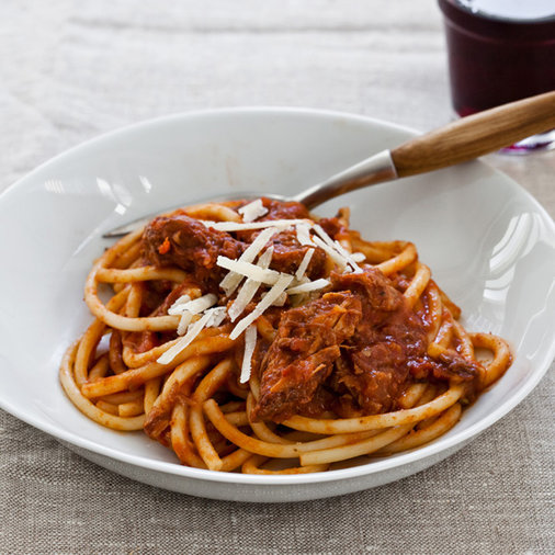 <p>March 12: Slow Cooker Sunday Sauce on Spaghetti</p>