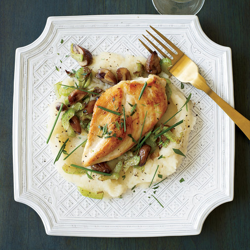 Sautéed Chicken with Celery-Root Puree and Chestnuts