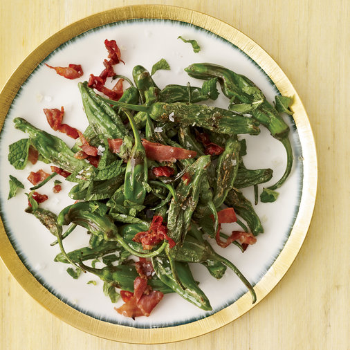Fried Peppers with Prosciutto