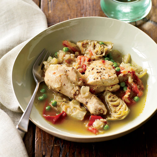 <p>Chicken Tagine with Artichoke Hearts and Peas</p>
