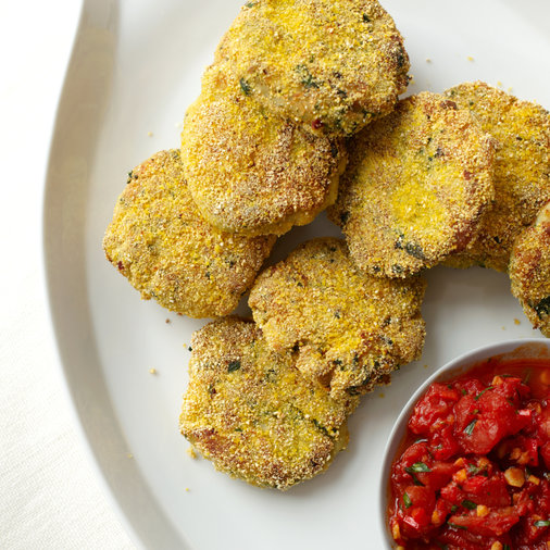 Polenta-Crusted Fish Cakes with Spicy Tomato Sauce