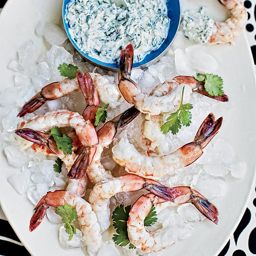 Pickled Shrimp with Creamy Spinach Dip