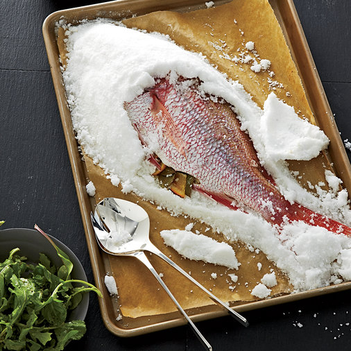 Salt-Crusted Snapper with Eggplant-Raisin Puree