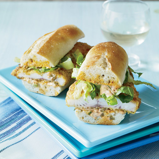 Catfish Po'Boys with Pickle Remoulade