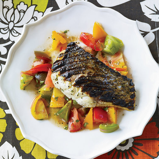 Grilled Striped Bass with Indian-Spiced Tomato Salad