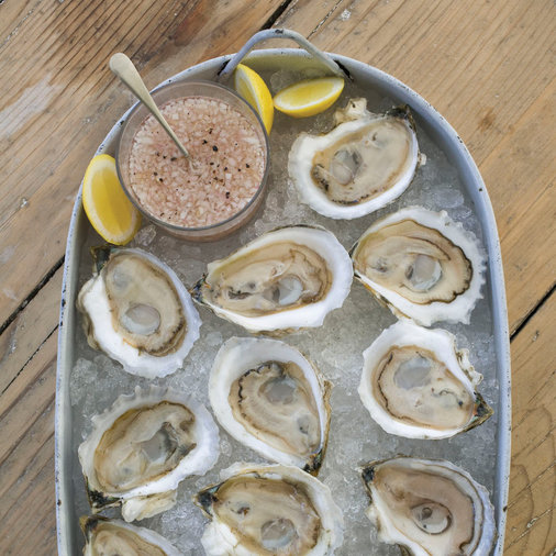 Oysters on the Half Shell with Rosé Mignonette