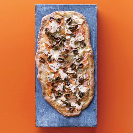 Two-Potato Flatbread with Olives and Feta