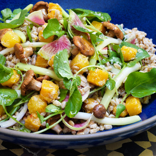 Farro with Butternut Squash and Pickled Chanterelles