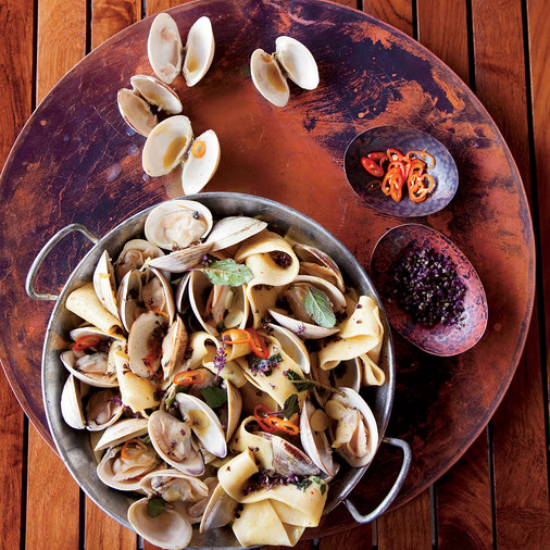 Pappardelle with Clams, Turmeric and Habaneros